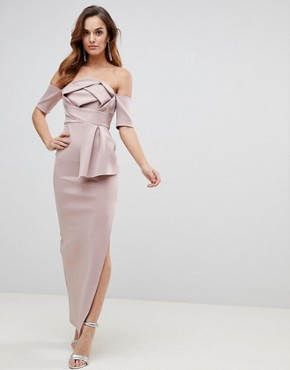 photo Scuba Bardot Folded Bow Front Maxi Dress by ASOS, color Mink - Image 1