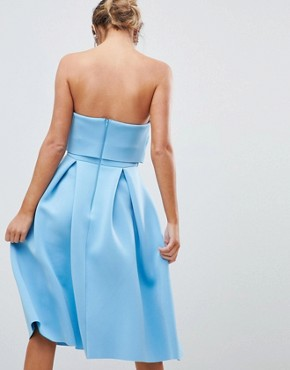 photo Bandeau Crop Top Prom Midi Dress by ASOS DESIGN, color Blue - Image 2