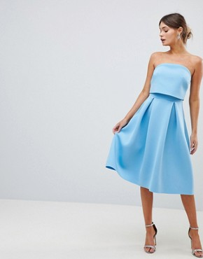 photo Bandeau Crop Top Prom Midi Dress by ASOS DESIGN, color Blue - Image 1