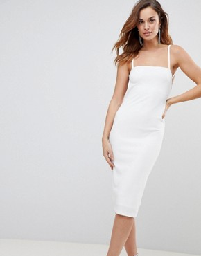 photo Crepe Square Neck Strappy Exposed Back Midi Dress by ASOS, color Ivory - Image 2