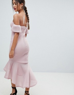 photo Bardot Fish Tail Midi Dress by Missguided, color Dusky Pink - Image 2