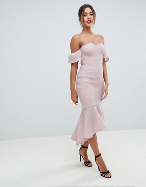 photo Bardot Fish Tail Midi Dress by Missguided, color Dusky Pink - Image 1