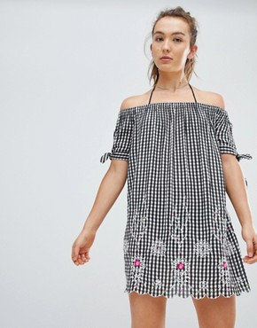 photo Gingham Off the Shoulder Beach Dress by Floozie by Frost French, color Black - Image 1