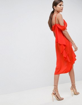 photo Sexy Satin Asymmetric Drape Midi Pencil Dress by ASOS DESIGN, color Tomato Red - Image 2