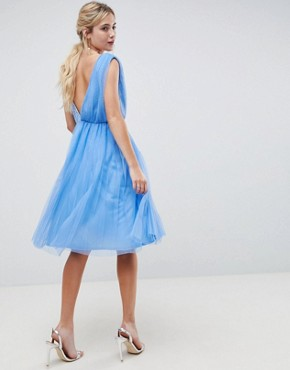 photo Pleated Tulle Midi Prom Dress with Lace Bodice by ASOS DESIGN, color Pastel Blue - Image 2