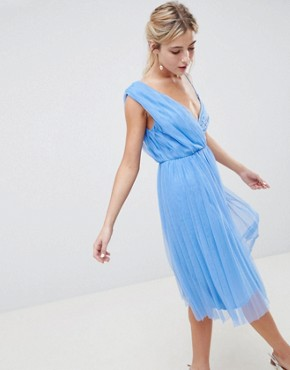 photo Pleated Tulle Midi Prom Dress with Lace Bodice by ASOS DESIGN, color Pastel Blue - Image 1