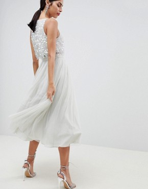 photo Tulle Prom Midi Dress with Delicate Embellished Droplets by ASOS DESIGN, color Ice Grey - Image 2