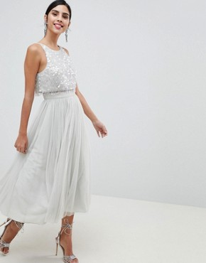 photo Tulle Prom Midi Dress with Delicate Embellished Droplets by ASOS DESIGN, color Ice Grey - Image 1