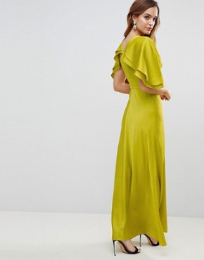photo Maxi Dress in Satin with Flutter Sleeve by ASOS DESIGN, color Lime - Image 2