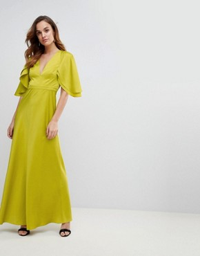 photo Maxi Dress in Satin with Flutter Sleeve by ASOS DESIGN, color Lime - Image 1