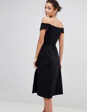 photo Midi Skater Dress with Bardot Neckline and Knot Front Detail by ASOS TALL, color Black - Image 2