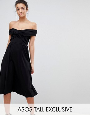 photo Midi Skater Dress with Bardot Neckline and Knot Front Detail by ASOS TALL, color Black - Image 1