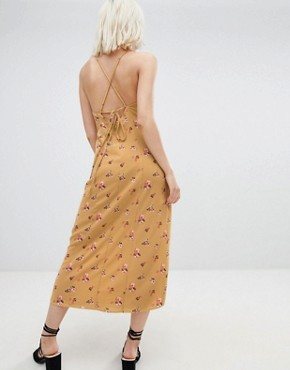 photo Midi Slip Dress with Split in Vintage Floral by Emory Park, color Mustard - Image 2