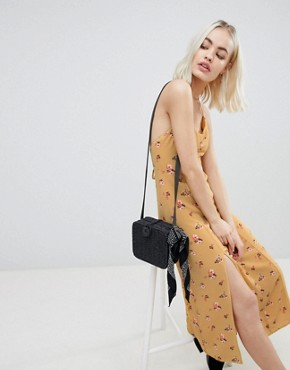 photo Midi Slip Dress with Split in Vintage Floral by Emory Park, color Mustard - Image 4