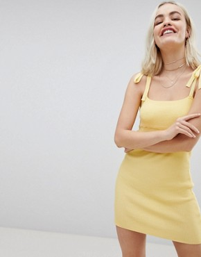 photo Tie Shoulder Cami Dress in Fine Rib Knit by Emory Park, color Lemon - Image 2