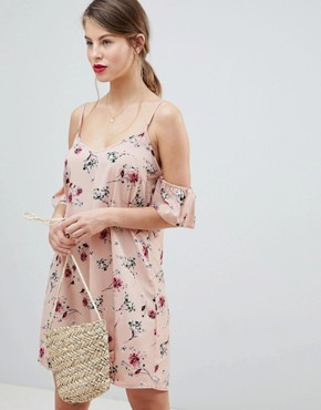 photo Floral Cold Shoulder Dress by Vila, color Adobe Rose - Image 1