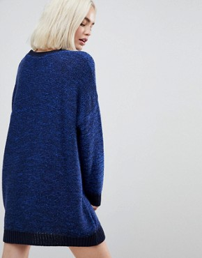 photo Oversized Jumper Dress in Twist Yarn by ASOS, color Navy - Image 2
