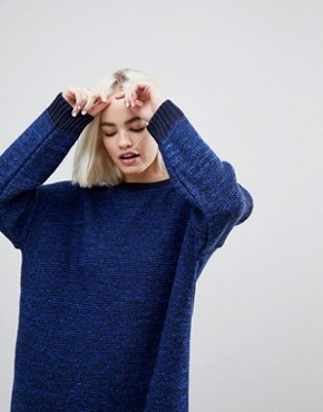 photo Oversized Jumper Dress in Twist Yarn by ASOS, color Navy - Image 3