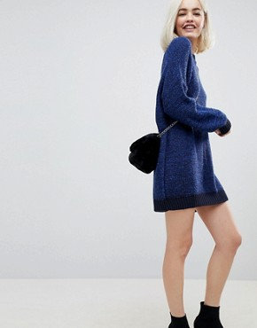 photo Oversized Jumper Dress in Twist Yarn by ASOS, color Navy - Image 4