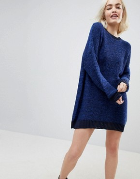 photo Oversized Jumper Dress in Twist Yarn by ASOS, color Navy - Image 1