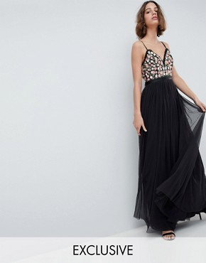 photo Cami Maxi Dress with Embellished Detail by Needle & Thread, color Graphite - Image 1