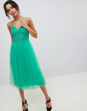 photo Lace Cami Top Tulle Midi Dress by ASOS DESIGN Premium, color Green - Image 1