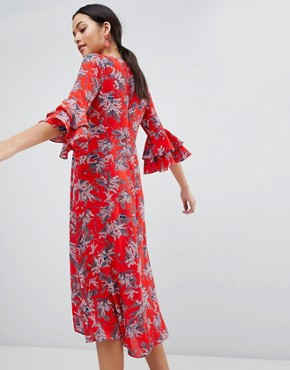 photo Floral Print Midi Dress with Flute Sleeve by Traffic People, color Red - Image 2