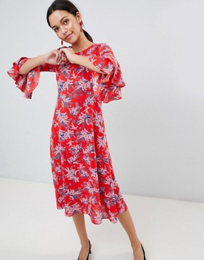 photo Floral Print Midi Dress with Flute Sleeve by Traffic People, color Red - Image 1