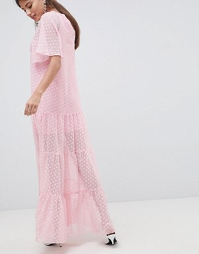 photo Chiffon Spot Print Maxi Dress by Traffic People, color Pink - Image 2