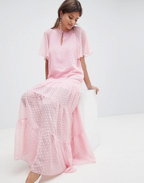 photo Chiffon Spot Print Maxi Dress by Traffic People, color Pink - Image 1