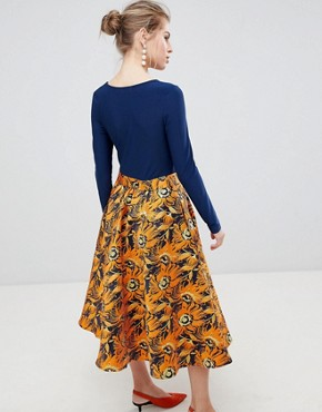photo Midi Dress with Contrast Printed Skirt by Traffic People, color Navy/Orange - Image 2