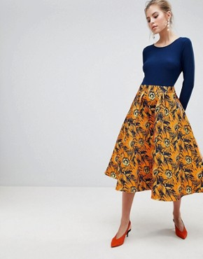 photo Midi Dress with Contrast Printed Skirt by Traffic People, color Navy/Orange - Image 1