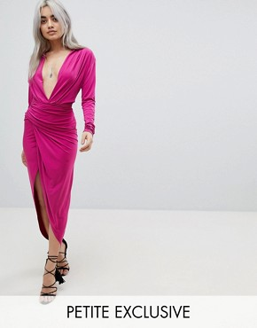 photo Plunge Front Wrap Maxi Dress by John Zack Petite, color Fuchsia - Image 1