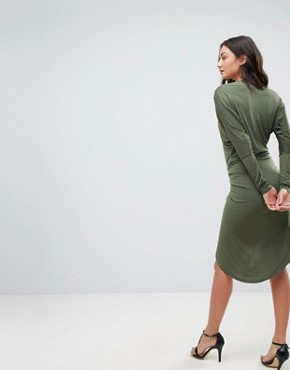 photo Off Shoulder Wrap Front Bodycon Dress by John Zack Tall, color Khaki - Image 2