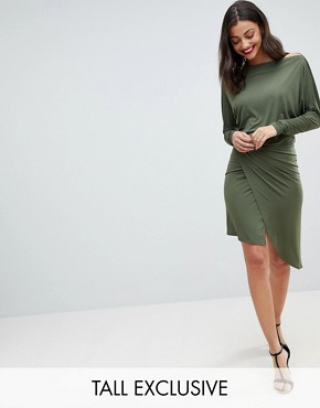 photo Off Shoulder Wrap Front Bodycon Dress by John Zack Tall, color Khaki - Image 1