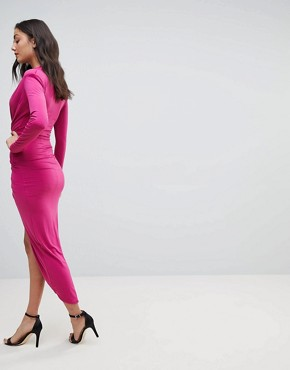 photo Plunge Front Wrap Maxi Dress by John Zack Tall, color Fuchsia - Image 2
