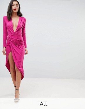 photo Plunge Front Wrap Maxi Dress by John Zack Tall, color Fuchsia - Image 1