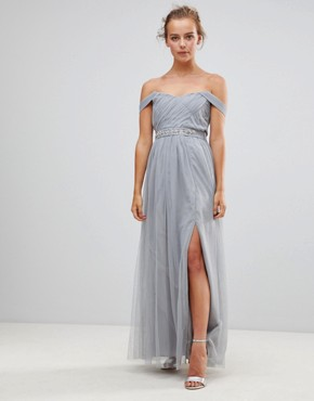 photo Jewel Waist Maxi Dress by Little Mistress, color Waterlily - Image 1