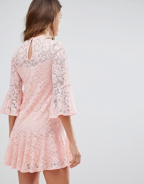 photo Allover Lace Smock Dress by Queen Bee, color Nude - Image 2