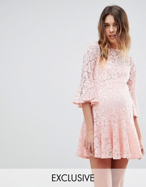 photo Allover Lace Smock Dress by Queen Bee, color Nude - Image 1