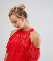 photo Cold Shoulder Lace Shift Dress by Little Mistress, color Red - Image 3