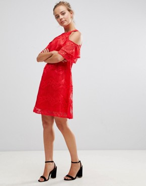 photo Cold Shoulder Lace Shift Dress by Little Mistress, color Red - Image 4