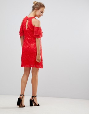 photo Cold Shoulder Lace Shift Dress by Little Mistress, color Red - Image 1
