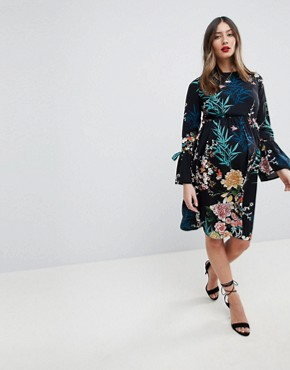 photo All Over Floral Printed Skater Dress by Queen Bee, color Multi - Image 2