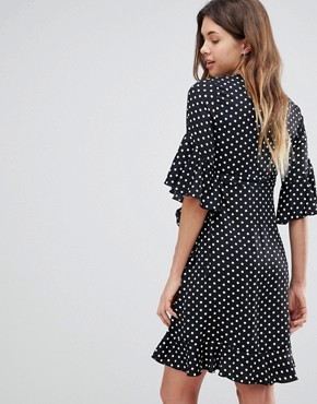 photo Ruffle Tea Dress in Polka by Queen Bee, color Multi - Image 2