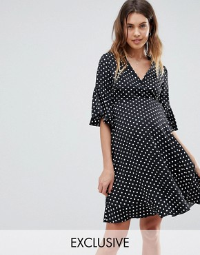 photo Ruffle Tea Dress in Polka by Queen Bee, color Multi - Image 1