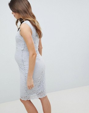 photo All Over Lace Sleeveless Pencil Dress by Queen Bee, color Grey - Image 2