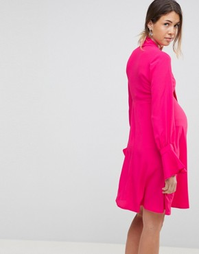 photo Dress with Tie Neck Detail by Queen Bee, color Fuchsia - Image 2