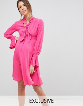photo Dress with Tie Neck Detail by Queen Bee, color Fuchsia - Image 1