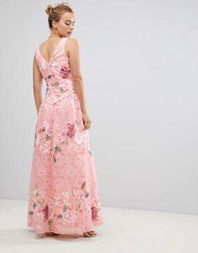 photo Embroidered Lace Maxi Dress by Little Mistress, color Pink - Image 2